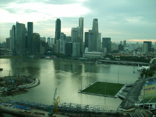 The view inside Singapore Flyer - Marina Bay. The green one is the floating soccer field.