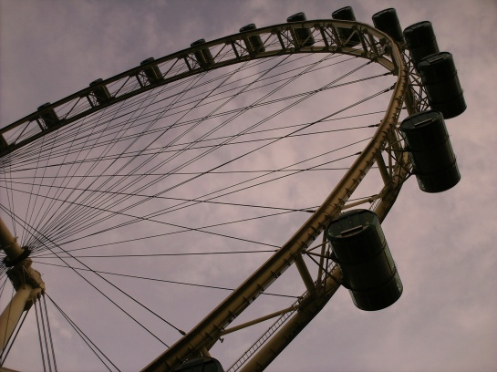 Singapore Flyer! One whole revolution takes about 30 minutes.